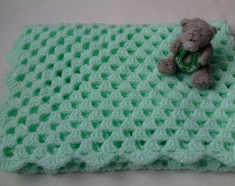 Crochet baby blanket pattern tutorial PDF file, mint baby blanket
