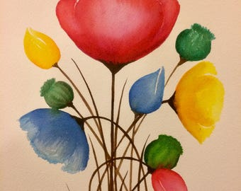 Mulicolour rainbow poppy original watercolour painting