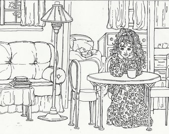 "COLORING PAGE Instant Printable Download,""I'm Bored"" ,Adult Coloring, Young Woman, Interior,Pen and Ink, Line Drawing, by Patty Fleckenstein"