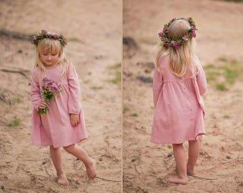 Girls Muslin Long Sleeve Dress Cotton Pink