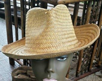 Straw union made fedora hat/vintage hats/straw hat/vintage straw hat/mens and womens hat/union made hat/50's straw hat/straw fedora