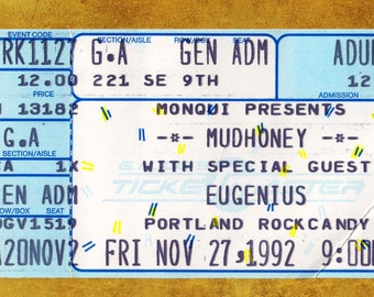 Mudhoney Concert Ticket Stub, Portland, OR 1992
