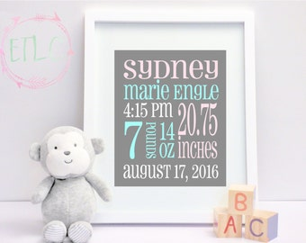 Birth announcement new baby boy baby birth stats newborn baby birth stats newborn baby digital announcement baby girl nursery wall art pink negle Images