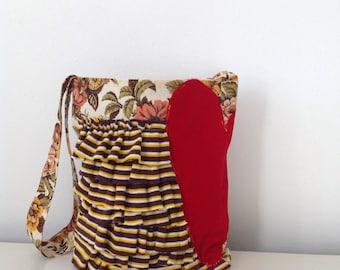 Vintage Fabric Bag/ Purse/ Market/ Velvet Heart