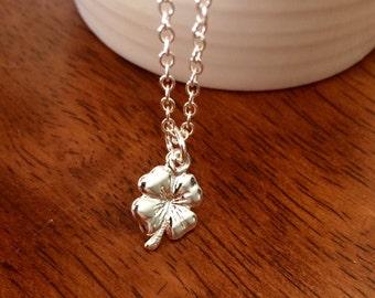 SALE Sterling silver four leaf clover necklace, shamrock necklace, lucky 4 leaf clover necklace, sterling silver necklace, silver charm neck