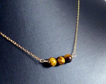 Tigereye Round Beads Necklace - Three Children Mothers Necklace - Tigereye Necklace - Tiger Eye Necklace - TigerEye Beads Gold Filled Chain