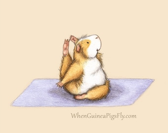 Guinea Pig Yoga Compass Pose - the Yoguineas Collection Cute Guinea Pig Yoga Art Print