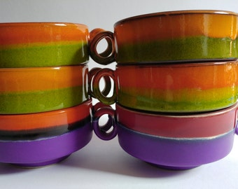 6 retro vintage 70s soup bowls colorfull