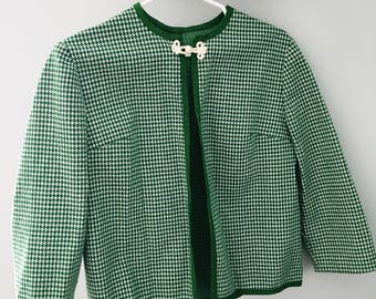 Vintage 1950's Hand Made Green Houndstooth Jacket
