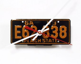 Georgia Clock from Bike License Tag - GA License Plate - 1953 Bicycle Decor - Cereal Premium - Peach State - Father's Day Gift
