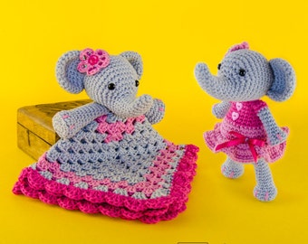 Combo Pack - Elephant Lovey and Amigurumi Set for 7.99 Dollars - PDF Crochet Pattern - Instant Download - Special Offer Pattern Pack Animal