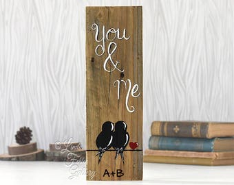 Rustic Wood Signs Reclaimed Wood Art Wood Sign Love Sign Love Bird Painting Wood 5th Anniversary Gift Wedding Gift for Couple Bird on a Wire