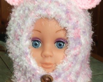 woolen hood with pink ears - 6 months to 1 year - handmade - 100% polyester - pink, purple, white