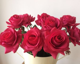 Fushcia Rose Real Touch long stem Flowers, Rose Centerpiece DIY(10pcs/ Set)