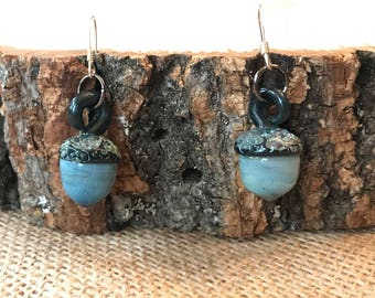 Blue Lampwork Acorn Earrings