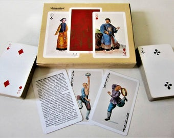 Vintage Double Deck Playing Cards 1984  Made In Spain Spanish Chinese Costumes Deco Storage Case Jokers Winterthur MuseumRare
