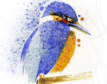 "Martinefa's Original watercolor and Ink ""Kingfisher"""