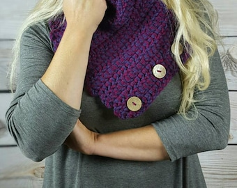 Purple Crochet Cowl Scarf, Colorful Boston Harbor Scarf, Button Scarf, Crochet Infinity Scarf - Plum and Raspberry with coconut buttons