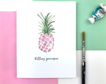 Personalized Pink Pineapple Stationary Set, Tropical Stationery Set, Pineapple Note Cards, Thank You Cards
