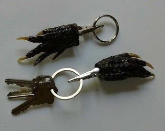 Louisiana Alligator Foot Claw with Alligator Clip and Key Ring