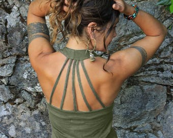 Peekaboo Tank Top-strappy tank-yoga tank top-yoga tank-yoga shirt-gypsy boho-slow fashion-strappy-funky tops-festival tops-dance tank-hippie