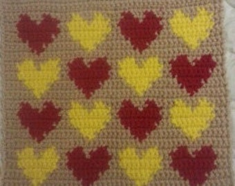 Crochet Many Hearts Cat/Sm Dog/Pet Blanket/Bed/Mat/Rug 20 inches Free Shipping