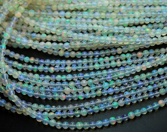 14 Inches Strand,Super Finest,Ethiopian Opal Smooth Round Rondelles Super Flashy Strand,Size 3-3.25mm