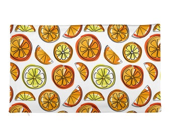 Orange Rectangular Pillow cover - COVER ONLY - Lemons and Oranges - Citrus Rectangular Pillow Case only