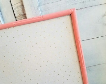 Gold Polka Dot Fabric Bulletin Board READY TO SHIP Coral Framed Cork Board Memo Board Christmas Gift