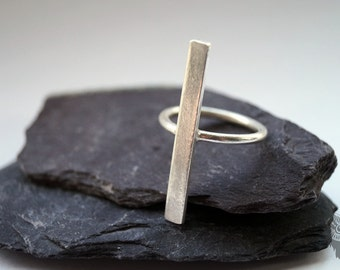 Sterling Silver Vertical Bar Ring ~ statement ring, modern