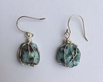 Larimar Earrings // Larimar Crystal // Crystal Jewelry
