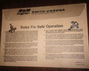"""Smith Corona vintage """"Rules for Safe Operation"""""""