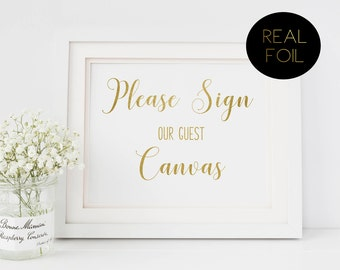 Please Sign Our Guest Canvas, Foiled Wedding Prints, Gold Foil Wedding, Wedding Signs, Gold Wedding Sign, Guestbook Sign, Gold Sign