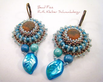Turquoise Bead Embroidery Dangle Earrings with Coppery Glass Cabochon, Round Earrings Blue and Copper, Blue Jewelry, Glass Beads Dangles