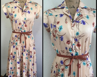 70s Floral Print Pleated Dress, 1970s Belted Dress, Vintage Cream Dress,1970s Bohemian Dress,  Womens Size Small, Medium