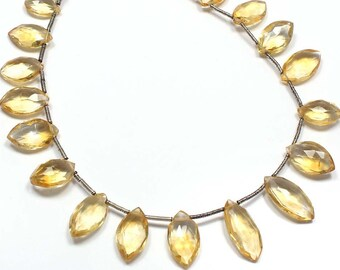 "Natural CITRINE Marquise Faceted Briolette Beads, 8.5"" Strand 19 Beads ,6x12 mm 65 cts Approx"