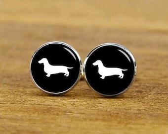 sausage dog cufflinks, dog cufflinks, wedding cufflink, custom animal cufflinks, groom cufflinks, round square cufflinks, tie clip or set