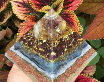 Pōhaku Makamae Gem Orgone Pyramid with Ametrine, Citrine, Gold and Blue Kyanite (large)