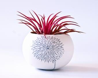 small ceramic planter dandelion design (light gray dandelion). Mini planter for cactus, succulent or air plant. Crafted by Wapa Studio.