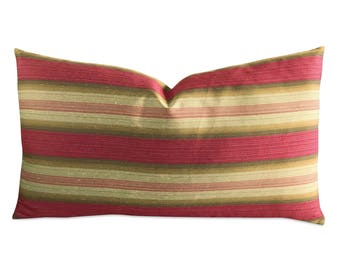 "Garnet Gold Wide Stripe Decorative Pillow Cover 15"" x 26"""