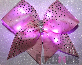 Pink Glitter  LED light up Cheer Glo Bow with Rhinestones !! An Original by FunBows !