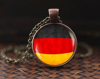 Germany Flag Necklace, Flag of Germany Necklace, German Flag, Flag Necklace, Dutchland Berlin Jewelry, Germany Patriotic Jewelry gift
