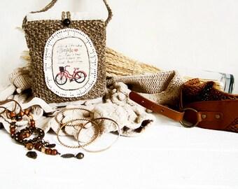 Hippie boho gypsy style shoulder bag Bicycle print bag Crochet linen purse Woman knit bag handle Long strap purses Small summer handbag