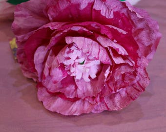 Raspberry peony, paper flowers, Flower bouquet, Pink peony bouquet, wedding flowers, Home decor, wedding decor, faux flowers