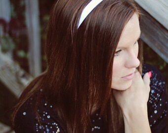 White Headband - Hard Headband - Ribbon Woven Headband - Plastic Headband - Child Toddler Teenager Adult Headband - Wedding Accessory