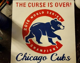 Hand Painted Chicago Cubs World Series sign