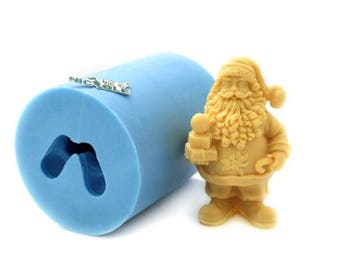 Jolly Father Christmas Holding Gifts 3D Silicone Mould
