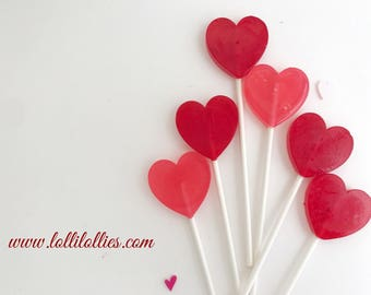 Red Hearts Lollipops - Red Valentine Lollipop - Red Wedding Favor - Hearts Lollipops - Heart Favor - Heart Candy - Set of 10