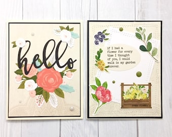 C041 - Handmade Floral Friendship Greeting Note Cards - Set of 2