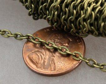 Antique Brass Chain, 50ft of Antique Brass Flat cable chain 3.7x2.7mm - Unsoldered Links